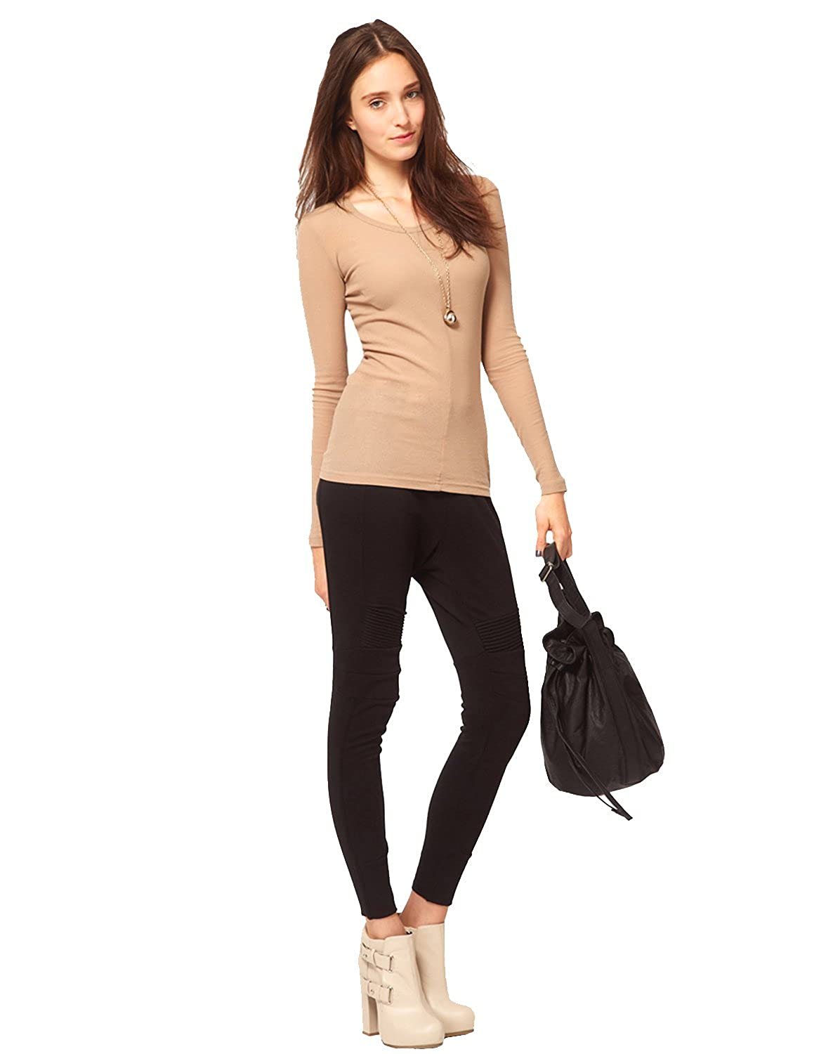 ELEGANCE1234 Elegance Women`s Plain Long Sleeve T-Shirt Crew Neck Tops(Ref:2214)