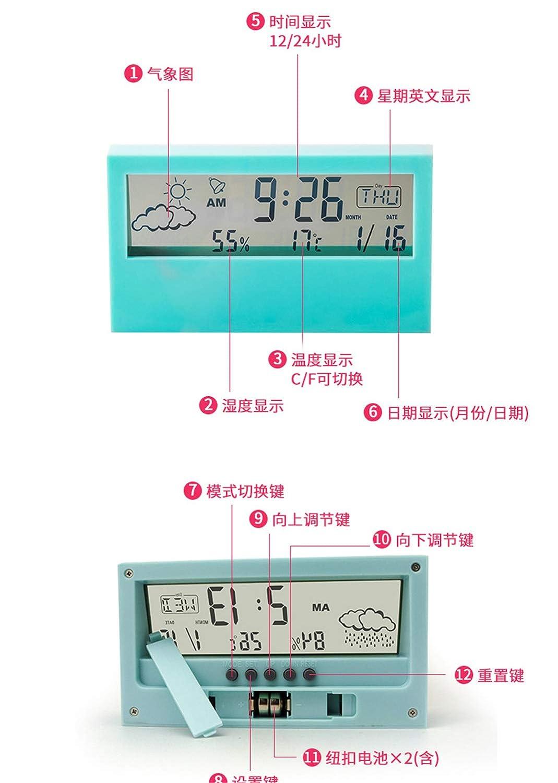 horloge m/ét/éo thermom/ètre num/érique Hygrom/ètre Affichage HD Station m/ét/éo Radio-r/éveil,Noir LED M/ét/éo transparente Mini station m/ét/éo r/éveil /étudiant