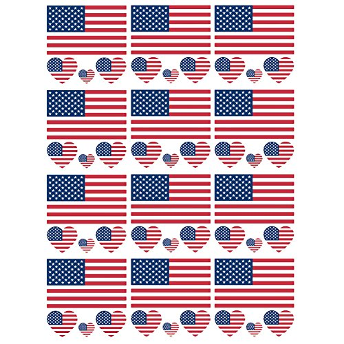 (SpringPear 12x Temporary Tattoos of United States Flag for International Competitions Olympic Games World Cup Waterproof Flags Tattoo Sticker Fan Set (12)