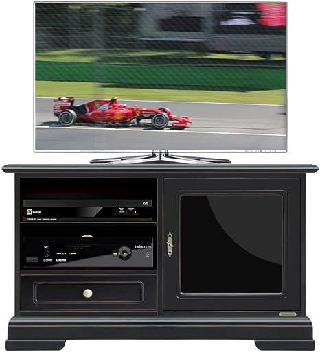 Negro TV de Muebles B106 X h63,5 X T40, Muebles TV con Puerta de Cristal en Color Negro, TV de Armario Negro Fabricado en Italy ya montado en, sólida Muebles TV de