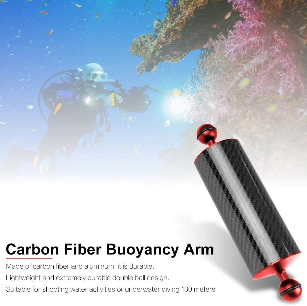 8//10 inches Carbon Fiber Underwater Float Arm,Floating Rod Diving Photography Expansion Accessories for Video Light//Strobe mounting