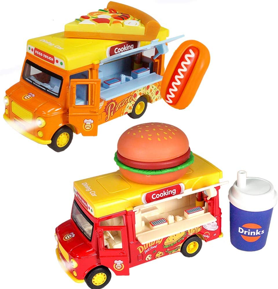 Ai-Fun Magnetic Induction Die Cast Food Truck Pull Back Car with Pretend Food Hamburger, Pizza, Drink, Hot Dog,Alloy Light and Sound Friction Car