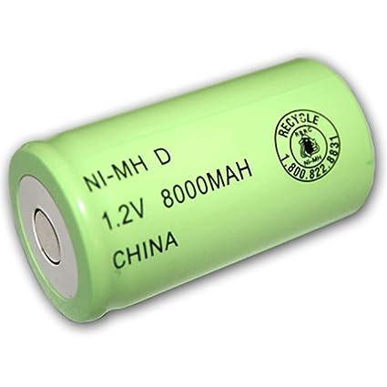 Amazon.com: exell 1.2 V 8000 mAh NiMH D Batería recargable ...