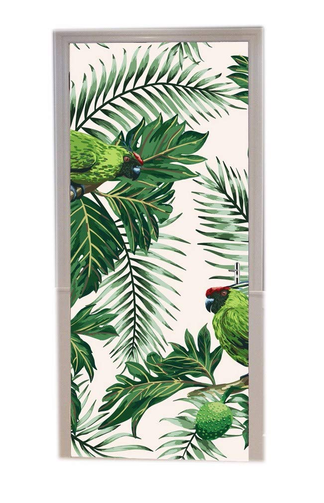 A.Monamour Hand-Painted Watercolor Pink Flamingo White Background Picture Print Eco-Friendly Vinyl Room Door Decals Wallpaper Wall Murals Removable Door Stickers Posters DIY Art Decors