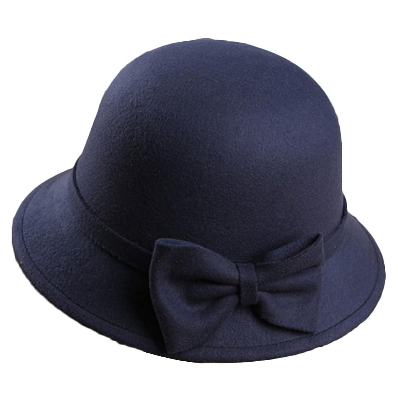 Sitong women's fashion warm bowknot wool hat basin cap
