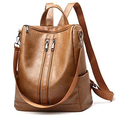 2439dbd60f26 Amazon.com  Huabor Women Backpack Purse Fashion Shoulder Bag Rucksack PU  Leather Ladies Backpack Travel bag (Brown)  bo160301