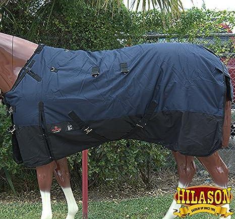 HILASON 1200D Ripstop Waterproof Turnout Winter Horse Blanket Navy Black
