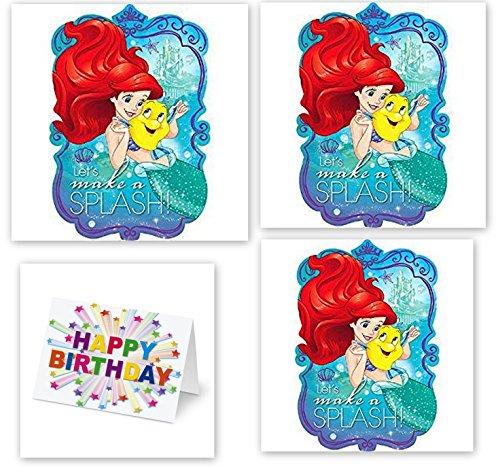 Princess Little Mermaid Ariel Decoration Party Birthday Invitations Invite 24PC Plus Birthday Card -