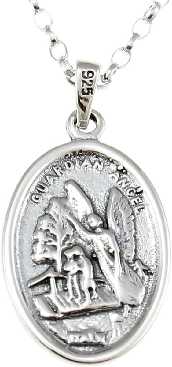 Alexander Castle Pendentif r/éversible en argent sterling repr/ésentant un ange gardien et saint Michel