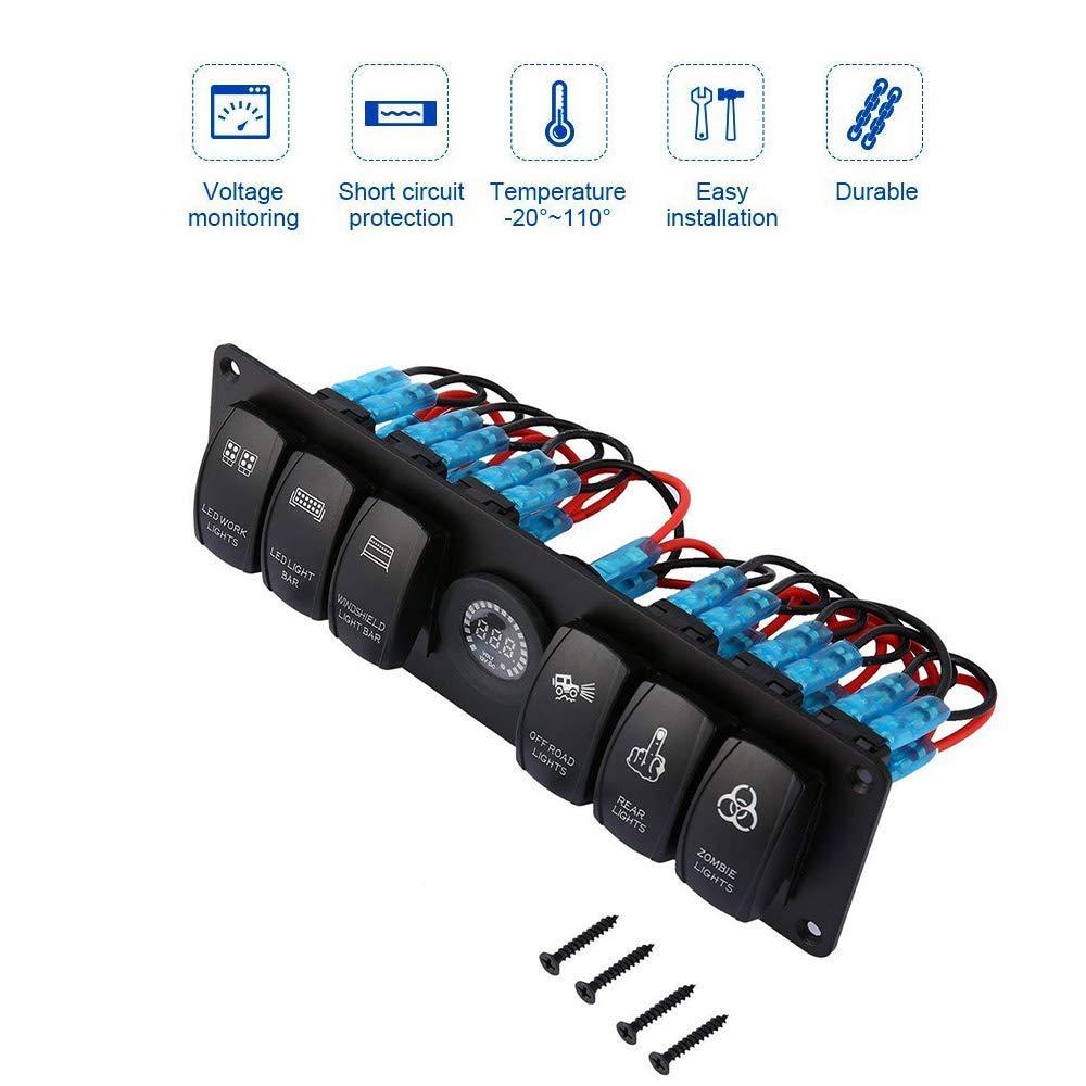con voltmetro a LED colorati 12 V camion Interruttore a bilanciere a 6 pulsanti barche CT-CARID per auto