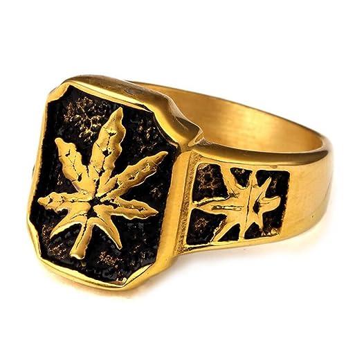 Gudeke Hojas de cannabis de malezas de marihuana Anillos de boda anillos de compromiso para los hombres (19(18,79mm)): Amazon.es: Joyería