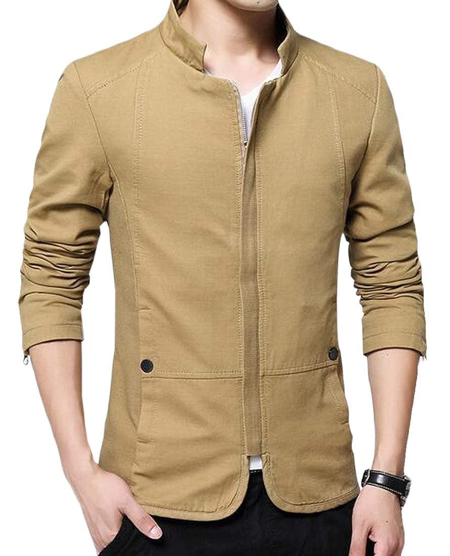 Khaki KLJR Men Cotton Stand Collar Lightweight Front Zip Solid color Jacket
