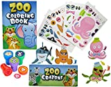 shark party favor box - 12 Animal Coloring Books and Crayons, 12 Jungle Zoo Stampers, 12 Sea Fish Stickers, Party Favor Set (1 Dozen of Each ) By Fun Land