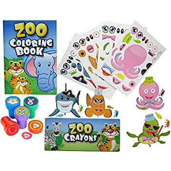 12 Animal Coloring Books And Crayons Jungle Zoo Stampers Sea Fish Stickers