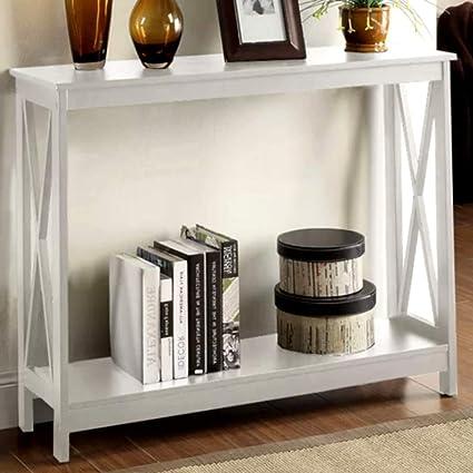 Amazon.com: Very Narrow Console Table Wood Shelf White X-Shaped 4 ...