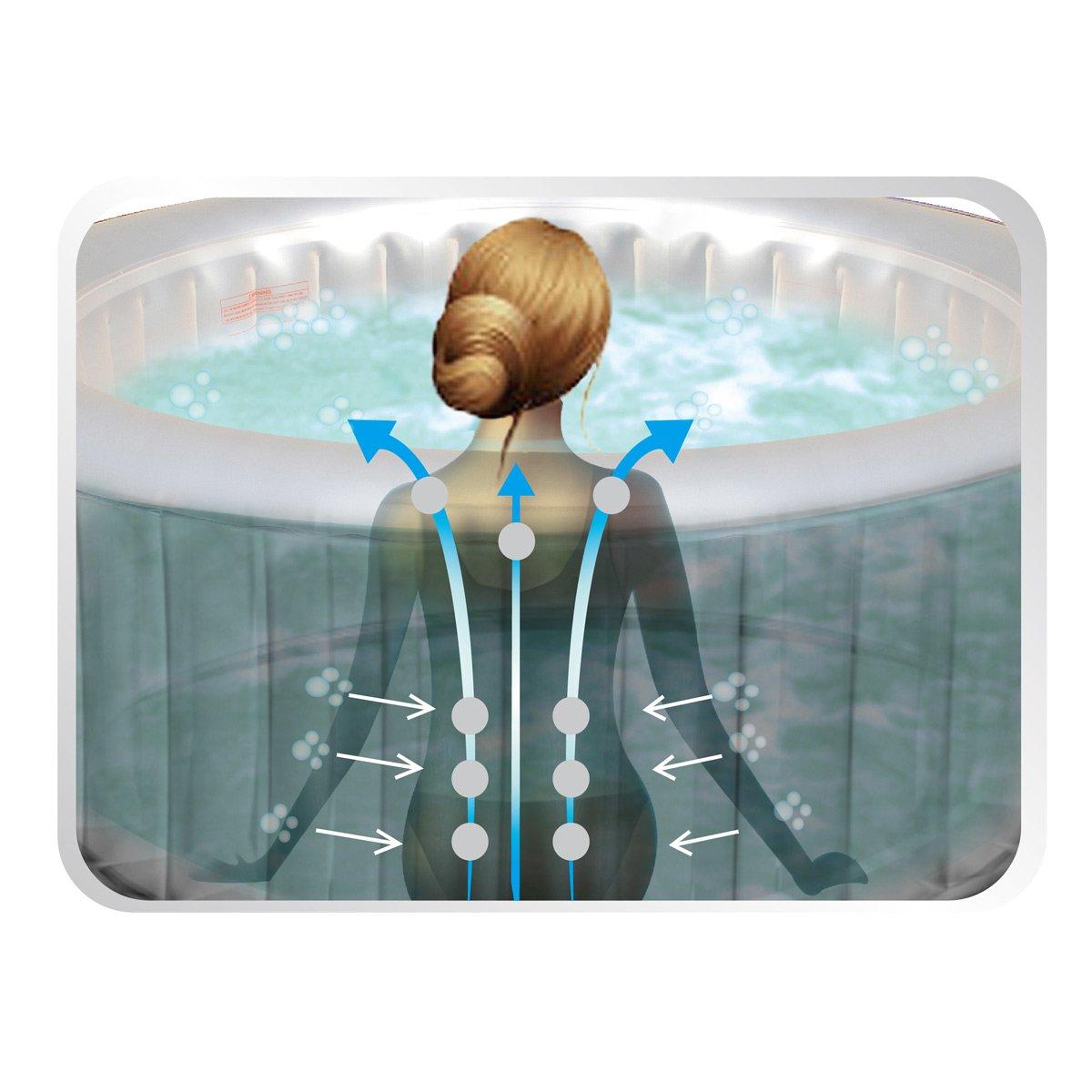 Whirlpool In-Outdoor Pool Bubble Spa Wellness Massage Heizung aufblasbar 158x158cm 4 Personen
