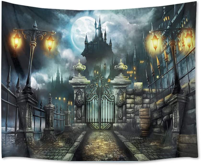 HVEST Castle Tapestry Haunted Building with Retro Gate Wall Hanging Full Moon in Night Tapestries for Bedroom Living Room Dorm Wall Decor,60Wx40H inches