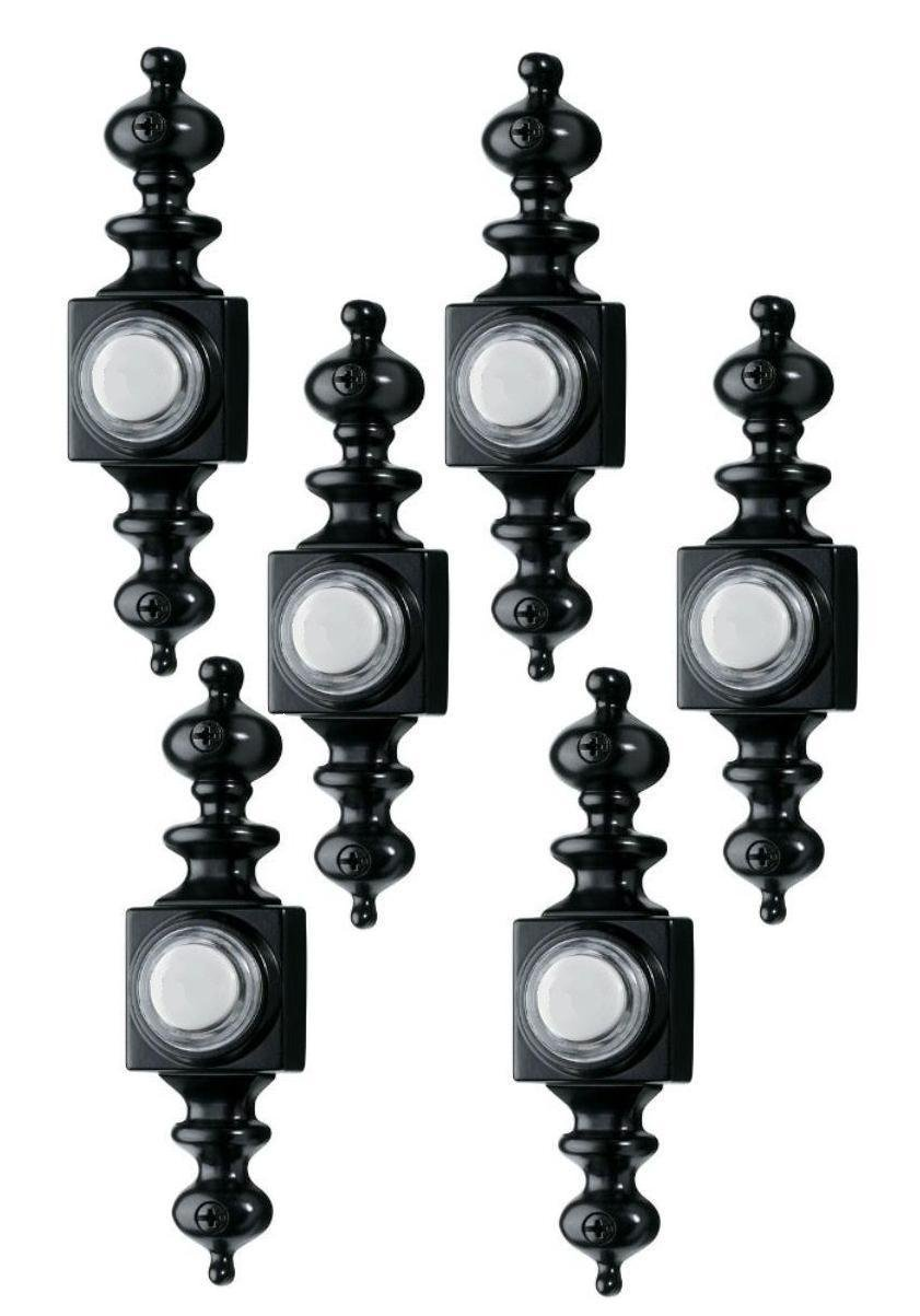 6 Pack - Broan NuTone RC810BK Wired Lighted Door Chime Push Button, Black Finish Wholesale Resale Retail Box
