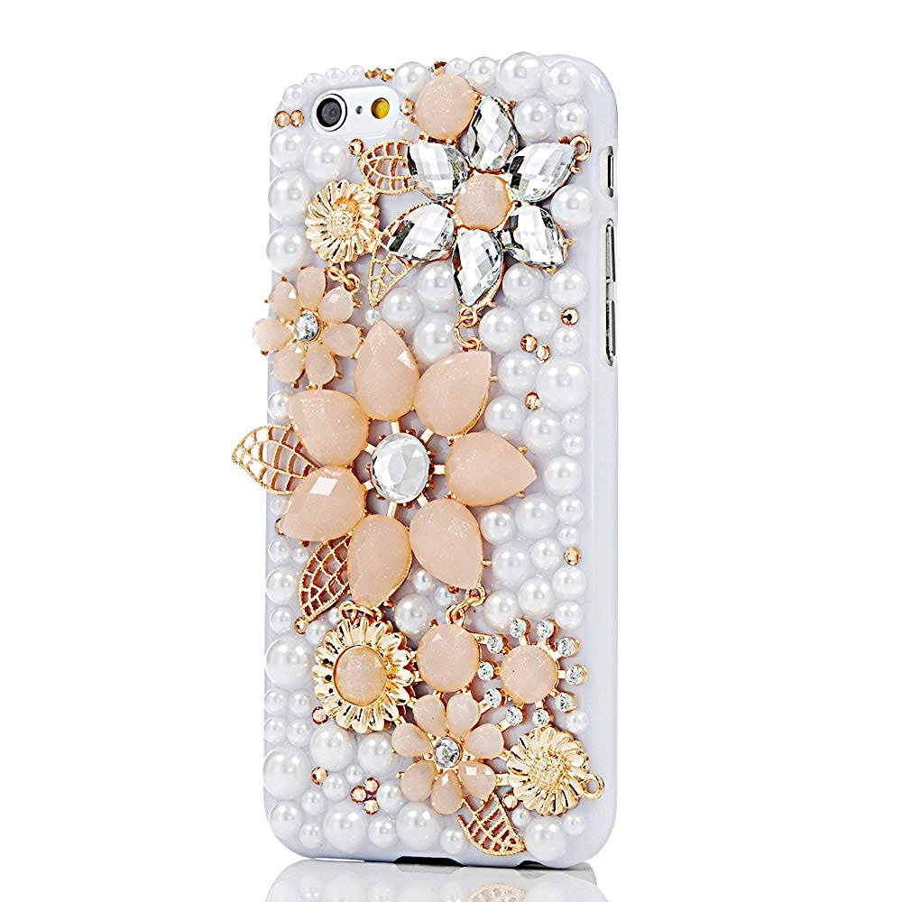 STENES iPhone 8 Plus Case - 3D Handmade Luxury Series Crystal Pretty Rhinestone Flowers Leaf Sparkle Rhinestone Cover Bling Case For iPhone 7 Plus/iPhone 8 Plus With Retro Bows Dust Plug - White