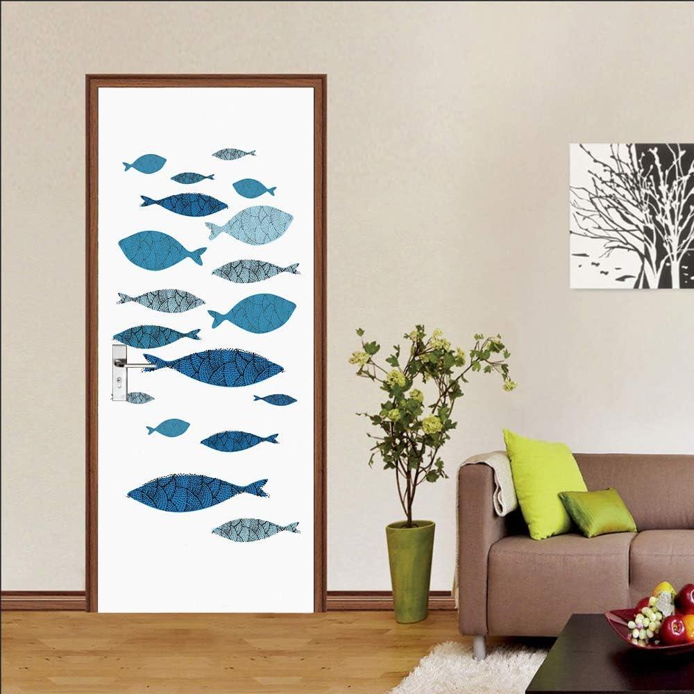 LMYWSX Sticker De Porte Vinyle 3D Art Poster Doodle Poisson Imperm/éable Amovible Wall Sticker Salon Cuisine Chambre Salle De Bain Decor 90X200Cm