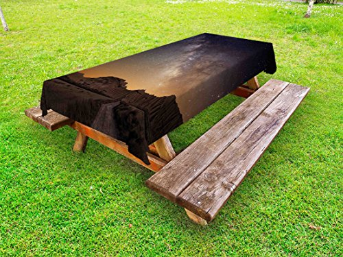 Ambesonne Night Outdoor Tablecloth, Milky Way over Desert of Bardenas Spain Ethereal View Hills Arid Country, Decorative Washable Picnic Table Cloth, 58 X 104 Inches, Plum Apricot Chocolate by Ambesonne