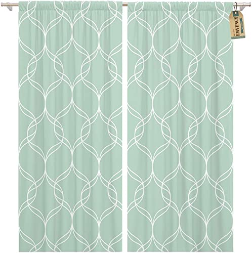 Emvency Window Curtains 2 Panels Rod Pocket Drapes Satin Polyester Blend Small Abstract Geometric Pattern Monochrome Geometry Grid Figure Living Bedroom Drapes Set 104 x 96 Inches