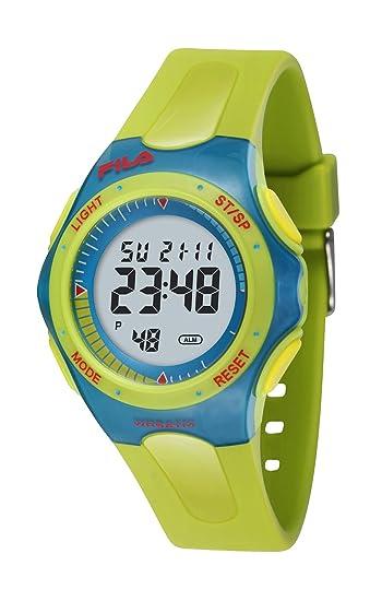 Fila Corsa - Reloj digital de mujer de cuarzo con correa de goma verde (alarma) - sumergible a 50 metros: Amazon.es: Relojes