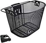 Biria bicycle Basket with Bracket Black - Front Quick Release Basket, Removable, Wire Mesh Bicycle basket Express Klick, Black