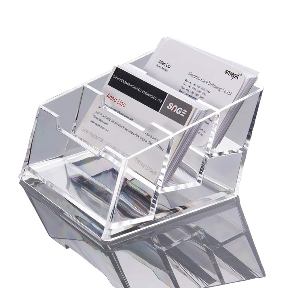 LANSCOERY Clear Acrylic Business Card Case Holder Container Countertop Stand Organizer for Office Table Desktop Storage 1 Tier 3 Pack