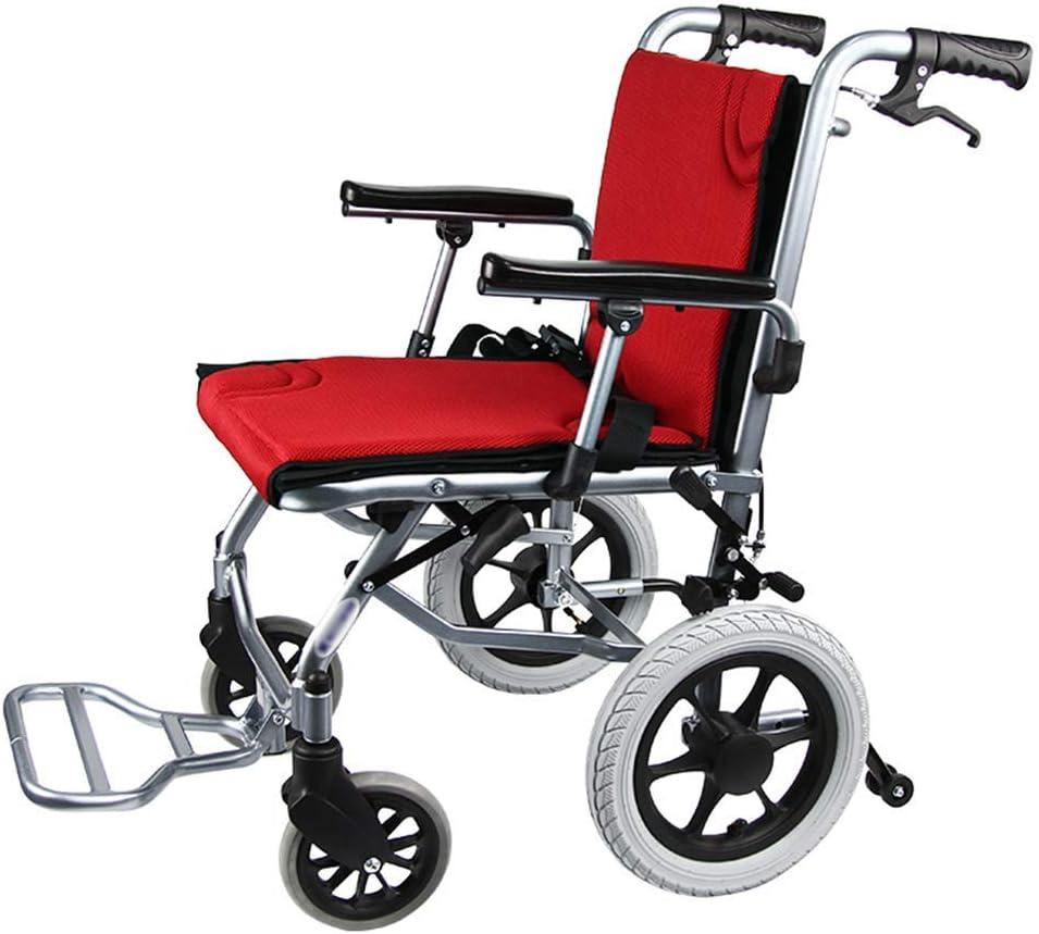 Y-L Silla de Ruedas para Ancianos de Aleación de Aluminio, Marco Plegable Liviano, Silla de Ruedas Accesible para Discapacitados, Silla de Ruedas de Transporte Turístico para Enviar