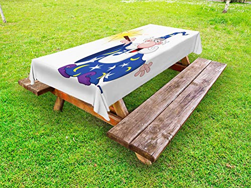 Ambesonne Wizard Outdoor Tablecloth, Medieval Mage with a Crazy Face Expression Creating a Powerful Spell Clipart, Decorative Washable Picnic Table Cloth, 58