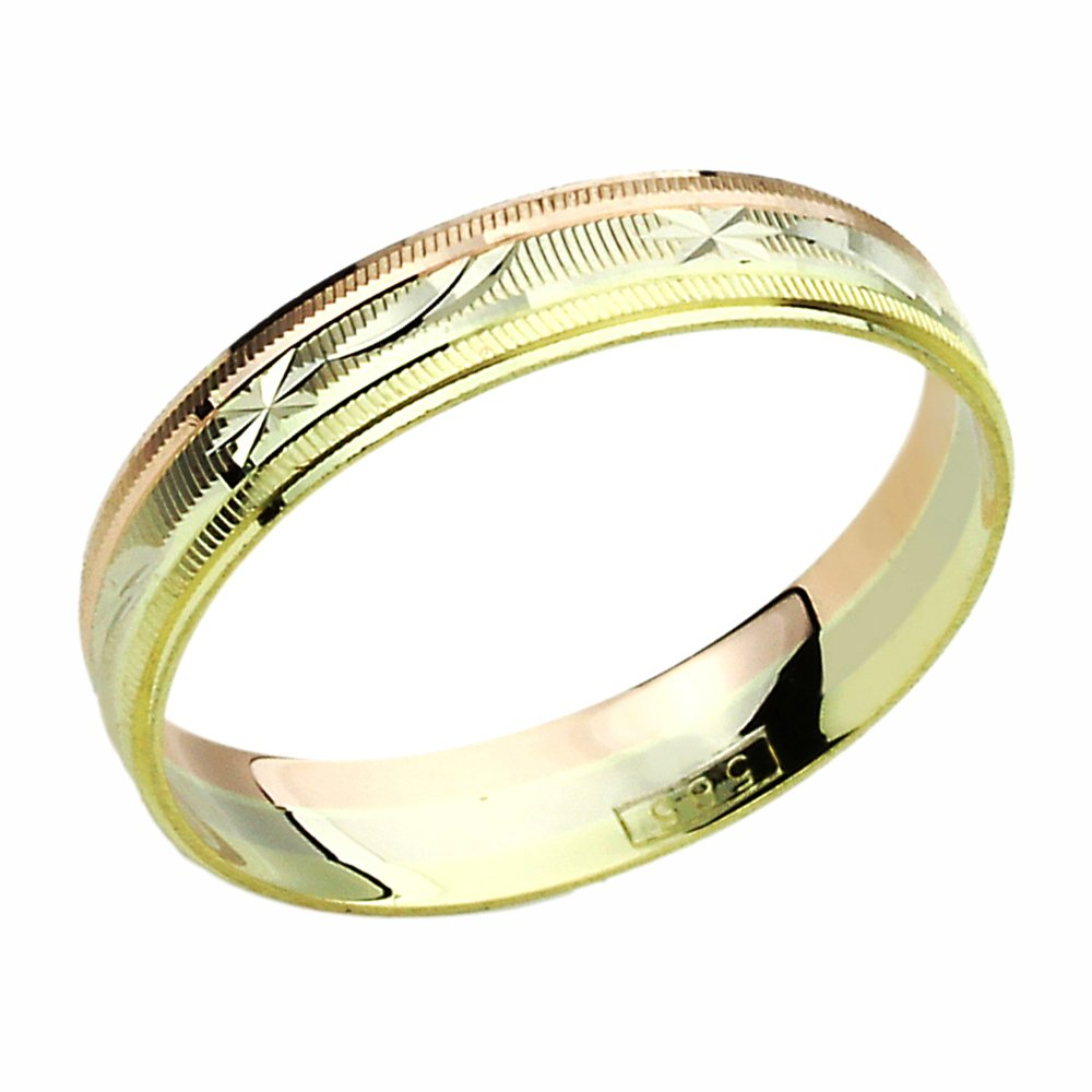 Free Engraving 14K Tri-Color Gold Wedding Band DC-Cutting Patterned Ring by Prime Pristine