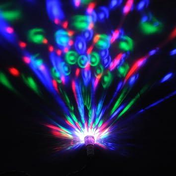 amzdeal® 2X E27 3W LED RGB Bombillas led giratoria, Foco discoteca, LAMPARA BOMBILLA LUZ EFECTO ...