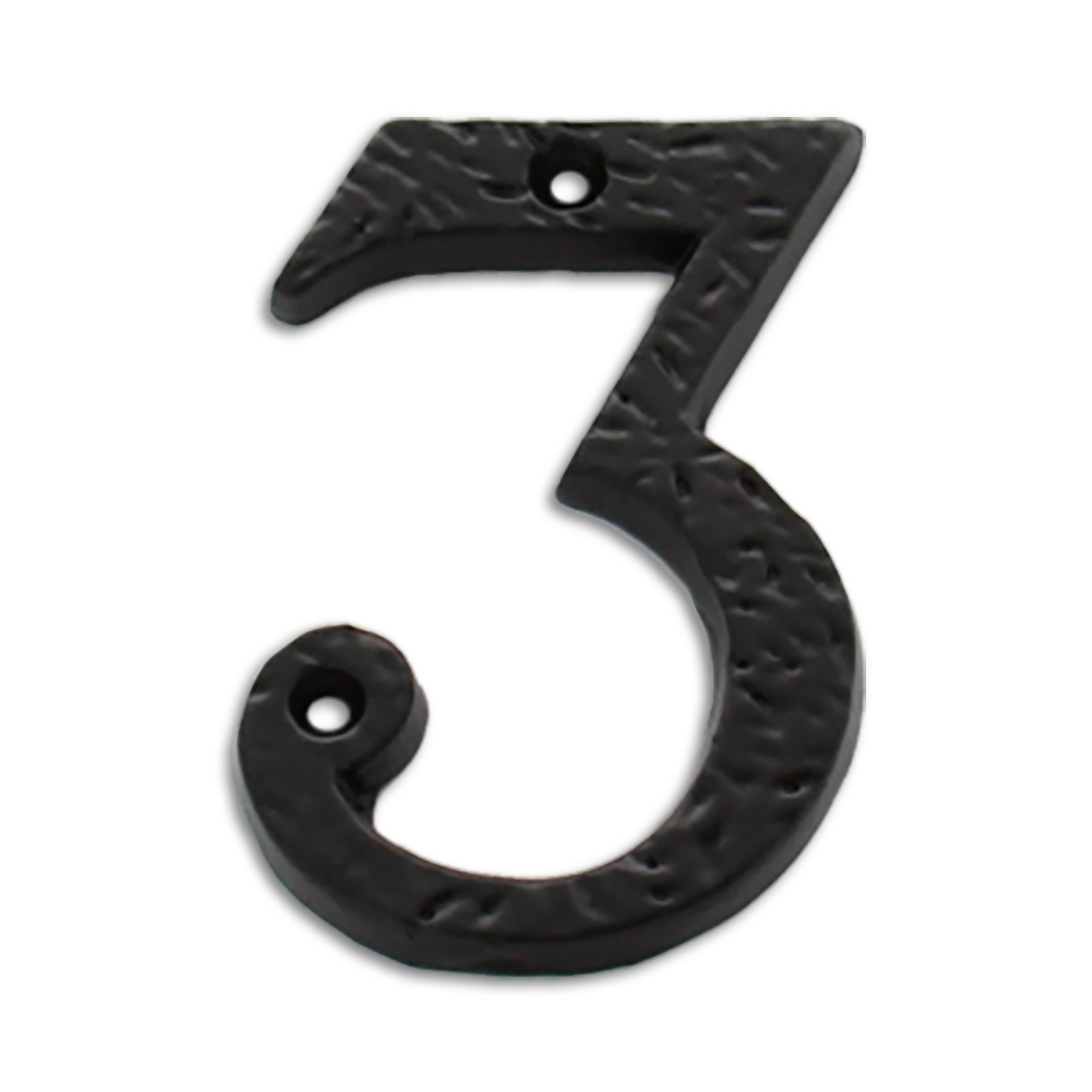 RCH Hardware Wrought Iron 3'' Tall House Number 3, Aged Iron Country Style Matching Screws Included by RCH Hardware