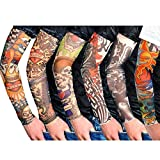 Happy Will 6 Pcs Fake Temporary Slip on Tattoo Arm Sleeves Body Art Stockings Accessories Cover Up Sleeves for Men with Stylus