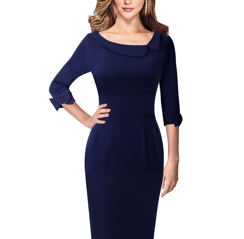 bluee Three Quarter Womens Vintage Asymmetric Neck Lapel Bow Elbow Sleeves Casual Pencil Sheath Dress
