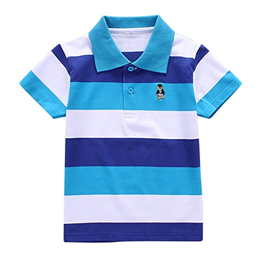 d03344bc Amazon.com: Timall Infant Kids Summer Clothing Tops T-Shirt Collar Boys  Girls Short Sleeve Striped Polo T-Shirt 2-6 Y: Clothing