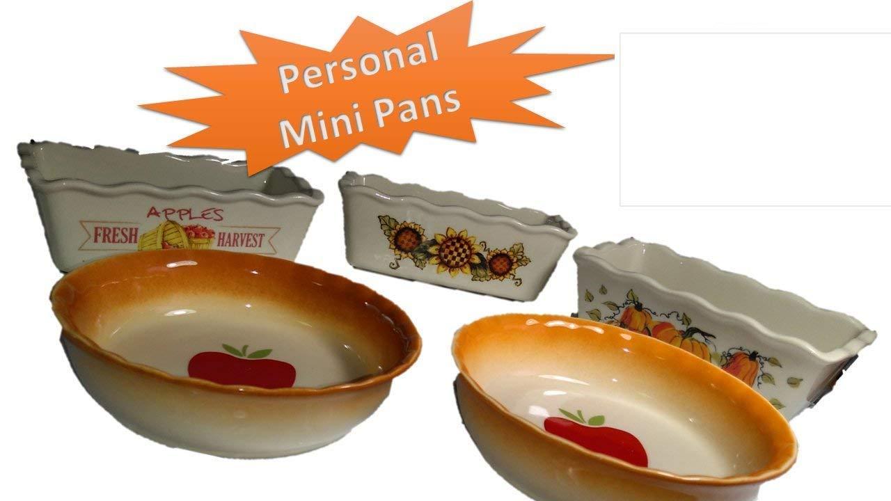 Molde para hornear pasteles de - Mini - Cerámica Gres (5 pc) fácil y divertido para hornear dulces o saladas de tamaño Personal Pot pies loafs y pasteles ...