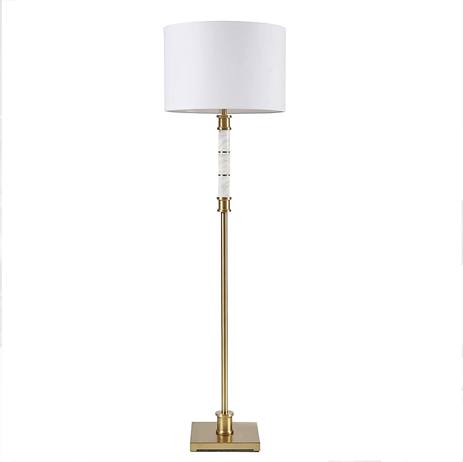"""Madison Park Signature MPS154-0069 Adeline Floor Lamp - Modern Luxe Accent Furniture Décor Lighting for Living Room Metal Post, Marble Detail Uplight, Fabric Shade, 62.5"""" Tall, White/Gold"""