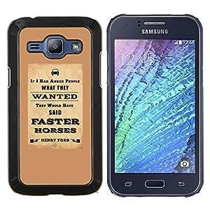 KLONGSHOP // Cubierta de piel con cierre a presión Shell trasero duro de goma Protección Caso - coches de ingeniería marrón cartel inteligente - Samsung Galaxy J1 J100 //