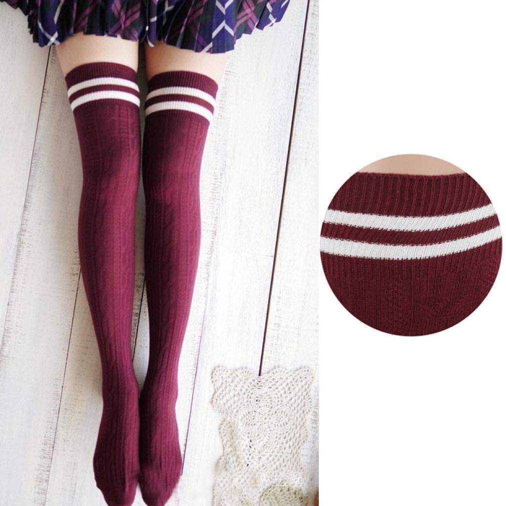 Hot Sale!!! Womens Thigh High Socks,Jushye College Wind Thigh High Socks Stockings Over The Knee Girls Women (A)