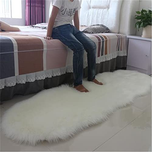 Meng Ge White Faux Sheepskin Area Rug Chair Cover Seat Pad Plain Shaggy Area Rug