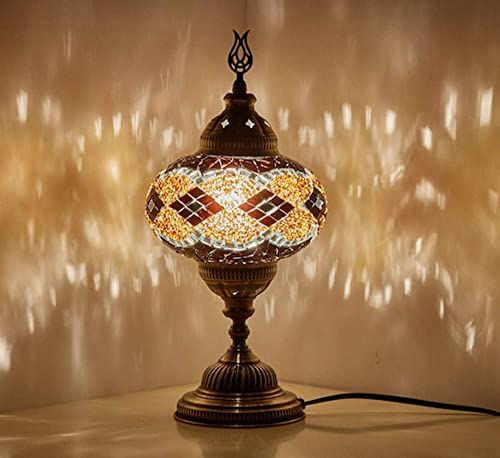Demmex 2019 Turkish Moroccan Mosaic Table Bedside Night Tiffany Bedside Lamp for US Use, Brown, Amber