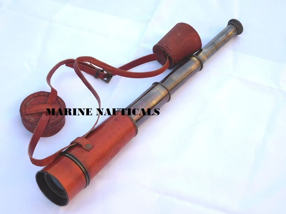 Brass Nautical Telescope Cap Belt Hand held Vintage Maritime Telescope spy Glass with Pure Leather Cover