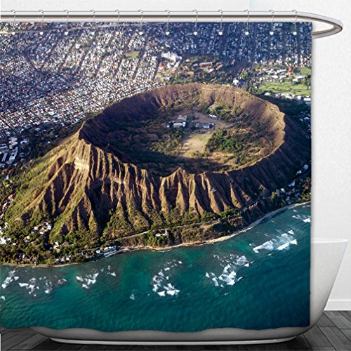 Interestlee Shower Curtain Diamond Head Oahu Hawaii aerial view into crater - Oahu Macys