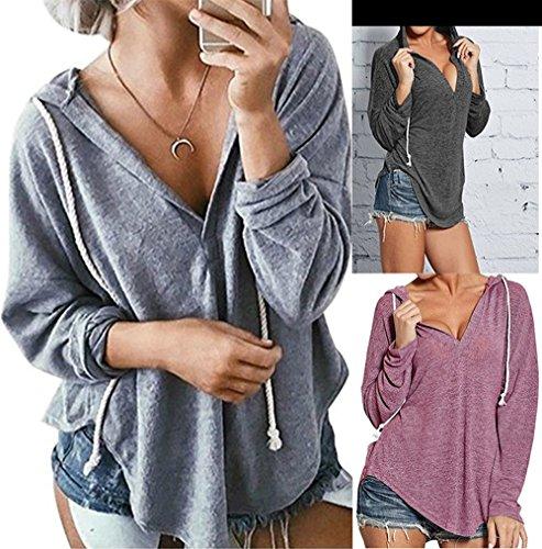 Shirt Hoodies Collo T Sciolto Autunno Manica Jumpers Fucsia Casual Cappuccio Lunga e Felpe Sweatshirt con Moda V Cime Tee a Donne Primavera Maglietta HTRwqYgx
