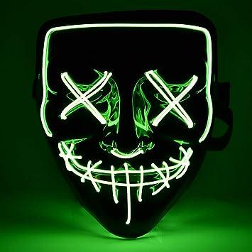 BASEIN Halloween LED Máscaras, Verde Fluorescente Mascaras de Halloween,Craneo Esqueleto Mascaras,para