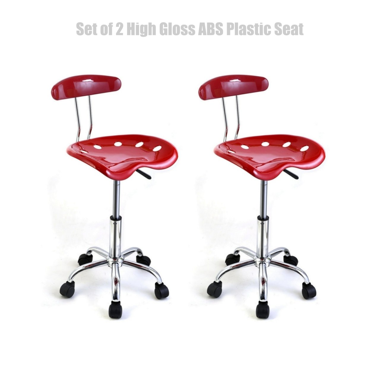 Modern Style Durable Molded ABS Plastic Seat Adjustable Bar Stools Swivel Drafting Dining Chair Solid Chrome Finish Base - Set of 2 Red #1478