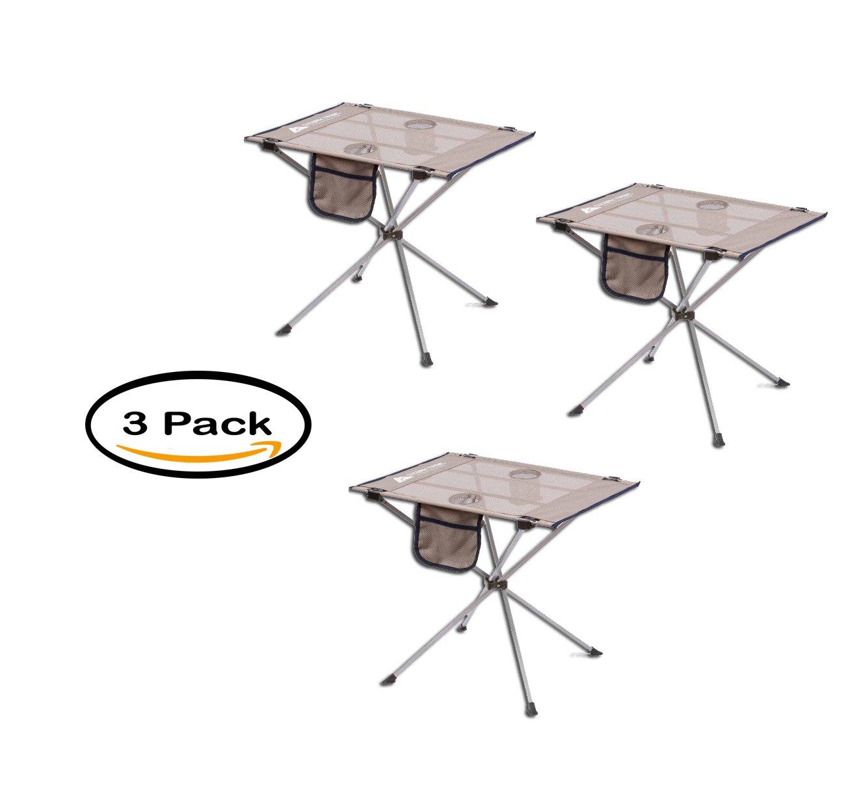 3のパック – Ozark Trail Smallコンパクトサイドテーブル、ウォームグレー B0758JVV3K