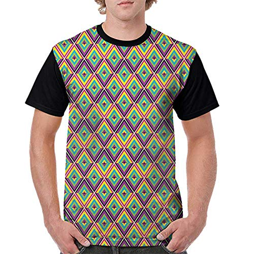 (Lightly T Shirt,Colorful,Rhombus Composition with Bullseye Pattern Geometric Arrangement Angled Stripes, Multicolor S-XXL Baseball Tee for Girls)